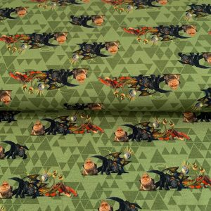 Úplet How to train your dragon green digital print
