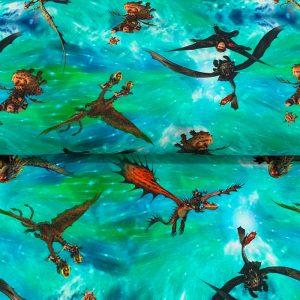 Úplet How to train your dragon azure digital print