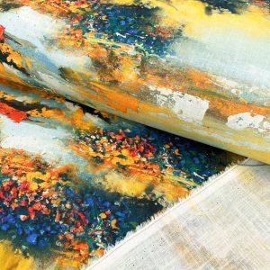 Ľan s viskózou Abstract digital print