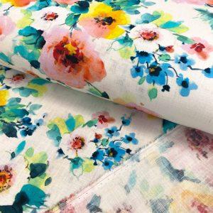 Ľan s viskózou Flower garden digital print